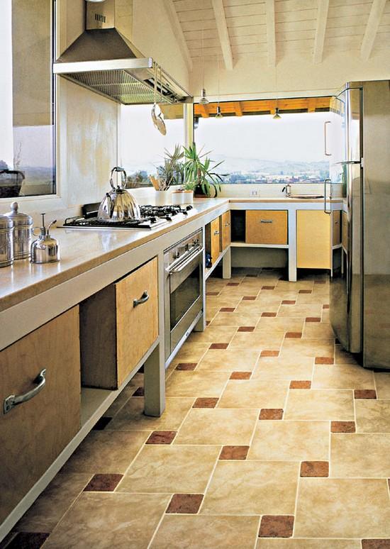 Дизайн кухни напольная плитка