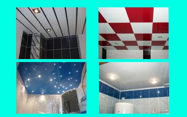 фото потолков в ванную