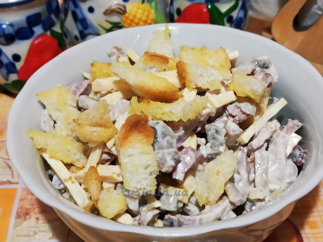 Грибной салат с ветчиной и сыром, простой рецепт